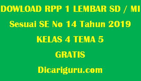 Download RPP 1 Lembar Kelas 4 Tema 5 Pahlawanku
