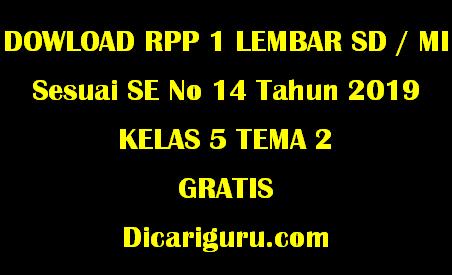 Download RPP 1 Lembar Kelas 5 Tema 2 Udara Bersih Bagi Kesehatan