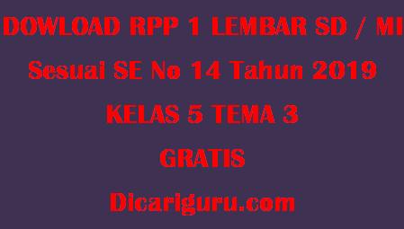 Download RPP 1 Lembar Kelas 5 Tema 3 Makanan Sehat