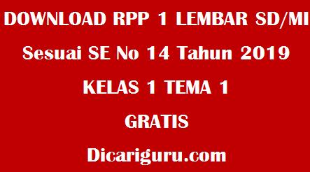 Download RPP 1 Lembar Kelas 1 Tema 1 Revisi Merdeka Belajar