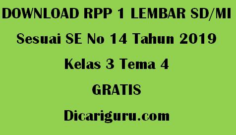 Download RPP 1 Lembar Kelas 3 Tema 4 Kewajiban dan Hakku