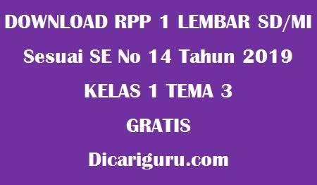 Download RPP 1 Lembar Kelas 1 Tema 3 kegiatanku