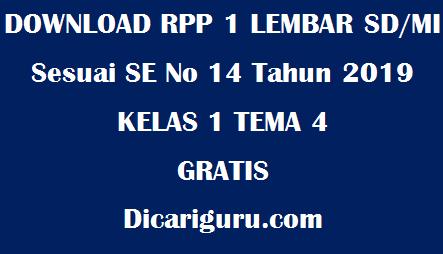 Download RPP 1 Lembar Kelas 1 Tema 4 Keluargaku