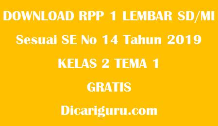 Download RPP 1 Lembar Kelas 2 Tema 1 (Hidup Rukun)