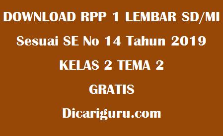 Download RPP 1 Lembar Kelas 2 Tema 2 Tema Bermain di Lingkunganku