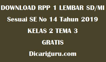 Download RPP 1 Lembar Kelas 2 Tema 3 Tugasku Sehari-hari