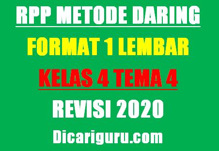 RPP Daring Kelas 4 Tema 4 Format 1 Lembar