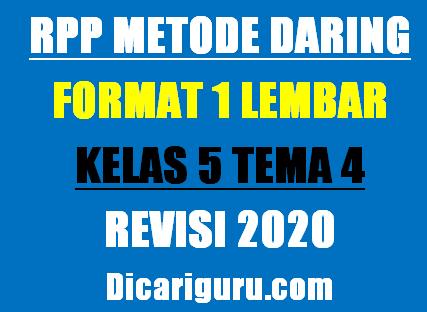 RPP Daring Kelas 5 Tema 4 Format 1 Lembar