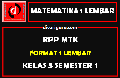 Download RPP MTK 1 Lembar Kelas 5 Semester 1