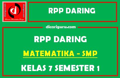 Contoh RPP Daring MTK Kelas 7 SMP Format 1 Lembar