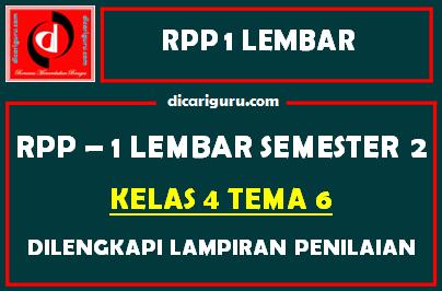 RPP 1 Lembar Kelas 4 Tema 6 Dilengkapi Lampiran Penilaian