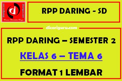 Download RPP Daring 1 Lembar Kelas 6 Tema 6 Semester 2