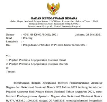 Pengadaan CPNS dan PPPK Non-Guru Tahun 2021